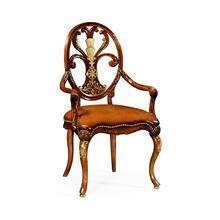 Carving oval back armchair leather seat