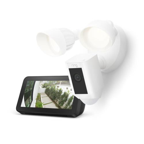 Ring - Floodlight Cam Wired Plus with Echo Show 5 (Charcoal) - White