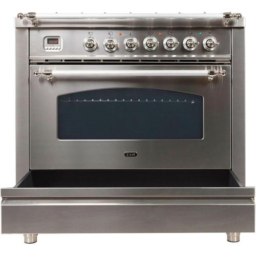 Nostalgie 36 Inch Dual Fuel Natural Gas Freestanding Range in Stainless Steel with Chrome Trim