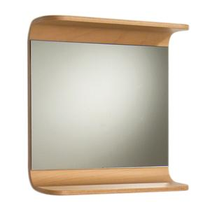Aeri rectangular wall mount mirror with integral wood shelf. Product Image