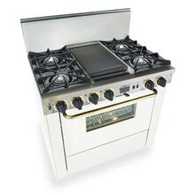 """See Details - 36"""" Dual Fuel, Convect, Self-Clean, Open Burners, White with Brass"""