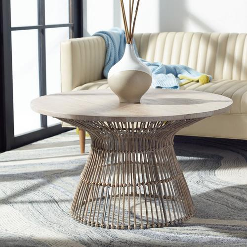 Safavieh - Whent Round Coffee Table - Wood / Rattan