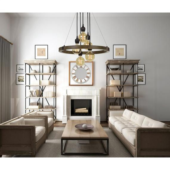60W X 5 Martos Metal/Wood Chandelier. (Edison Bulbs included)