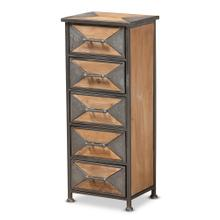 See Details - Baxton Studio Laurel Rustic Industrial Antique Grey Finished Metal and Whitewashed Oak Brown Finished Wood 5-Drawer Accent Storage Cabinet