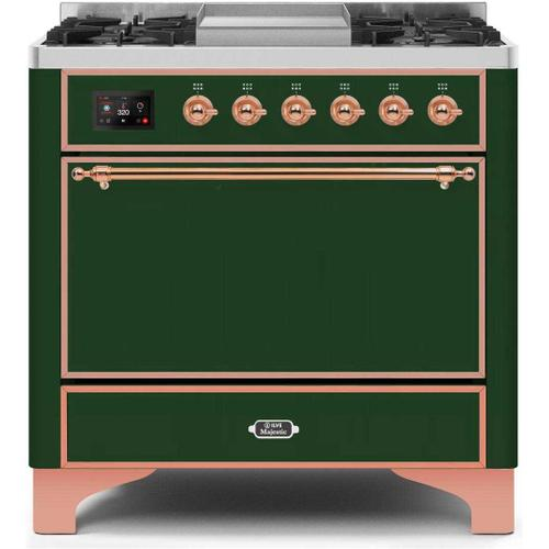 Ilve - Majestic II 36 Inch Dual Fuel Natural Gas Freestanding Range in Emerald Green with Copper Trim