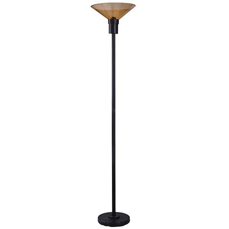 Bronze and Amber Glass  Transitional Torchiere with Metal Body and Glass Shade Offers a Versatile L