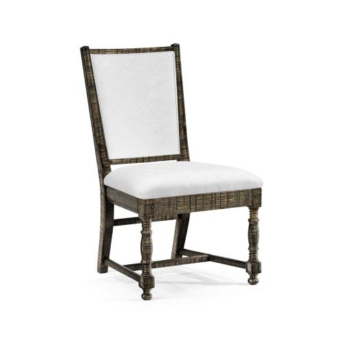 Distressed Country Dark Driftwood Side Chair, Upholstered in COM
