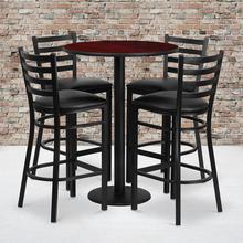 Product Image - 30'' Round Mahogany Laminate Table Set with Round Base and 4 Ladder Back Metal Barstools - Black Vinyl Seat