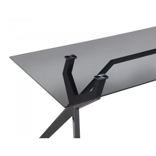 Modrest Darley - Modern Grey Glass & Black Stainless Steel Dining Table