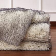 "Modern Fox Faux Fur Luxury Area Rug Appx. 3"" Pile Height by Rug Factory Plus - 5' x 7' / White Gray"
