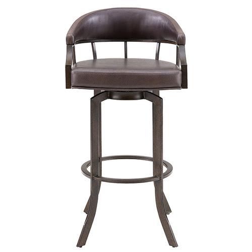 "Edy Swivel 30"" Auburn Bay and Brown Faux Leather Bar Stool"