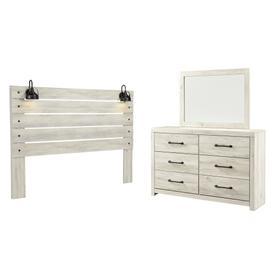 King Panel Headboard With Mirrored Dresser