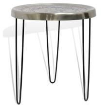 SILVER MOTIF TRAY TABLE  18w X 20ht X 18d  Round Metal Side Table with Motif Design and Black Pape