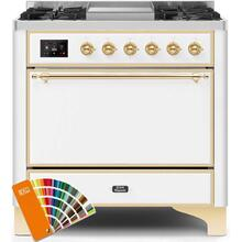 Majestic II 36 Inch Dual Fuel Natural Gas Freestanding Range in Custom RAL Color with Brass Trim