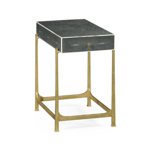 Anthracite Faux Shagreen & Gilded Iron Side Table