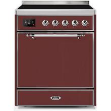 Majestic II 30 Inch Electric Freestanding Range in Burgundy with Chrome Trim