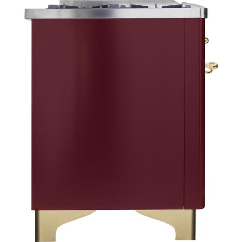 Ilve - Majestic II 36 Inch Dual Fuel Natural Gas Freestanding Range in Burgundy with Brass Trim