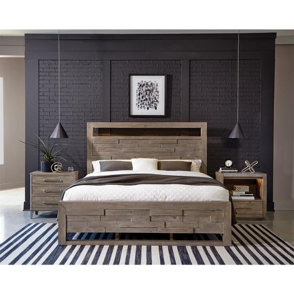 See Details - Intrigue - Three Drawer Nightstand - Hazelwood Finish