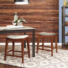 "Metro 24"" Saddle Stool With Nail Head Accents and Espresso Finish Legs With Pewter Bonded Leather"