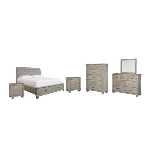 Ashley - King Panel Bed With 2 Storage Drawers With Mirrored Dresser, Chest and 2 Nightstands
