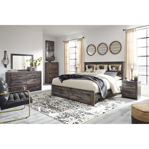 Queen Bookcase Bed With 2 Storage Drawers With Mirrored Dresser and 2 Nightstands