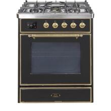 Majestic II 30 Inch Dual Fuel Natural Gas Freestanding Range in Glossy Black with Brass Trim