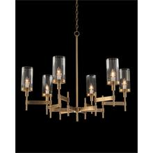 See Details - Brass-Plated Six-Light Chandelier