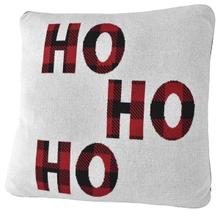 "Red & Black Buffalo Plaid ""Ho Ho Ho' Knit Pillow"