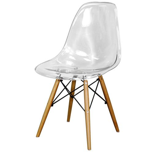 Allen Molded PC Dining Side Chair Maple Dowel Legs, Transparent Crystal