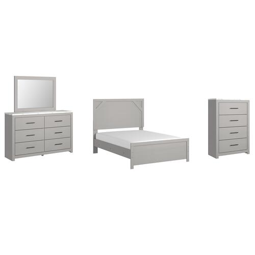 Gallery - Full Panel Bed With Mirrored Dresser and Chest
