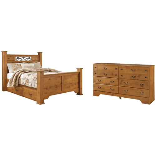 Ashley - Queen Poster Bed With 2 Storage Drawers With Dresser