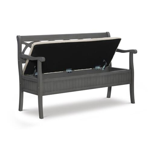 48-inch Lift Top and Upholstered Seat Storage Bench With Arms, Grey and Beige