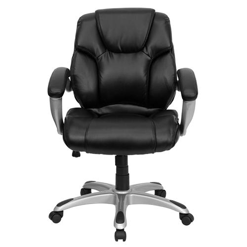 Gallery - Mid-Back Black LeatherSoft Layered Upholstered Executive Swivel Ergonomic Office Chair with Silver Nylon Base and Arms