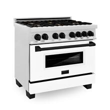 """See Details - ZLINE Autograph Edition 36"""" 4.6 cu. ft. Dual Fuel Range with Gas Stove and Electric Oven in DuraSnow® Stainless Steel with White Matte Door and Accents (RASZ-WM-36) [Color: Matte Black]"""