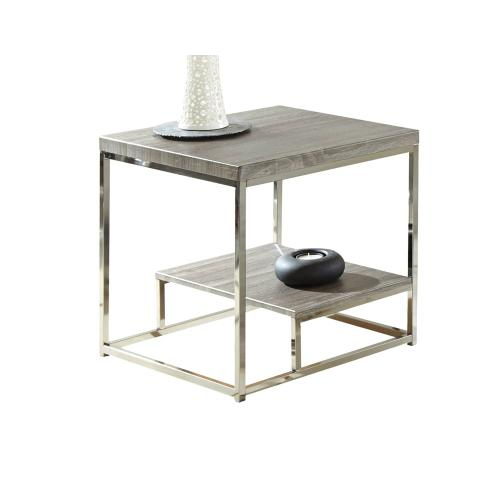 Lucia End Table, Gray/Black Nickle