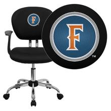 Cal State Fullerton Titans Embroidered Black Mesh Task Chair with Arms and Chrome Base