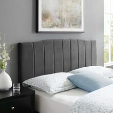 Camilla Channel Tufted King/California King Performance Velvet Headboard in Charcoal