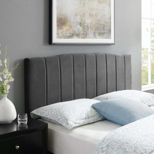 Modway - Camilla Channel Tufted King/California King Performance Velvet Headboard in Charcoal