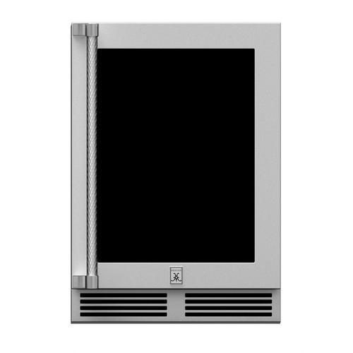 """Hestan - 24""""outdoor Dz Refrig. W/wine, Glass Door, W/lock, RGT.HINGED"""