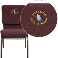 Embroidered HERCULES Series 18.5''W Church Chair in Plum Fabric with Cup Book Rack - Gold Vein Frame