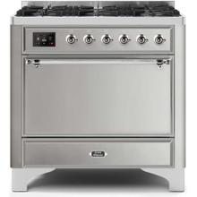 View Product - Majestic II 36 Inch Dual Fuel Liquid Propane Freestanding Range in Stainless Steel with Chrome Trim