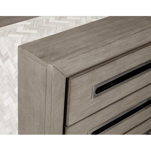 Product Image - Modern 3 Drawer Nightstand with Marble Inlay in Natural Taupe