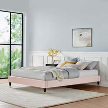 Harlow Twin Performance Velvet Platform Bed Frame in Pink