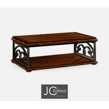 Rustic Walnut Coffee Table with Wrought Iron Base