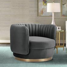 See Details - Davy Dark Gray Velvet Swivel Accent Chair
