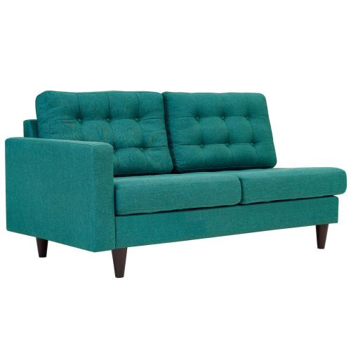 Modway - Empress Left-Facing Upholstered Fabric Loveseat in Teal