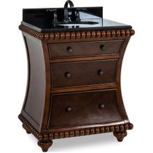 "30"" vanity with Rosewood finish, hand-carved beaded details with preassembled top and bowl."