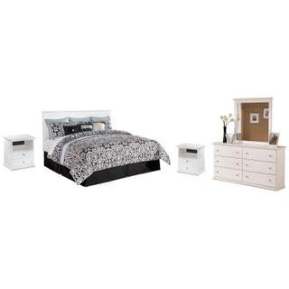 See Details - King/california King Panel Headboard With Mirrored Dresser and 2 Nightstands