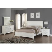 Laveno 012 White Wood Bedroom Set - QUEEN & KING Bed Dresser Mirror 2 Night Stands, King