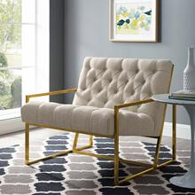 Bequest Gold Stainless Steel Upholstered Fabric Accent Chair in Beige